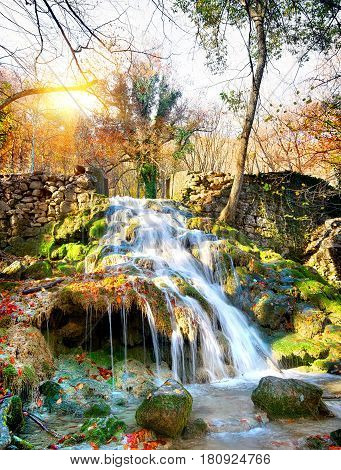Autumn waterfall in the mountains of Crimea