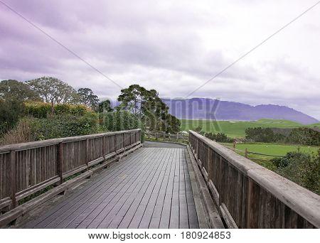 Bridge to greener pasture with purple sky