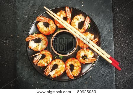 Fried Grilled Shrimp Prawns With Soy Sauce