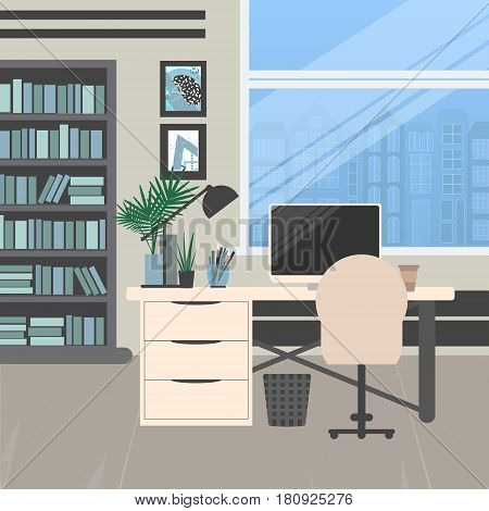 Modern office design. Workplace with big window desktop modern monitor furniture in interior. Vector illustration in flat minimalistic design website banner.