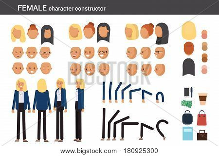 Female character constructor for different poses. Set of various women's faces hairstyles hands legs and accessories. Vector flat style illustration.
