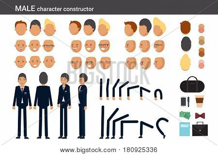 Male character constructor for different poses. Set of various men's faces hairstyles hands legs and accessories. Vector flat style illustration. poster