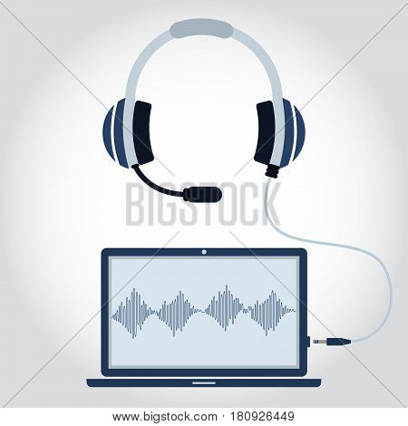 Laptop And Headphone With Microphone