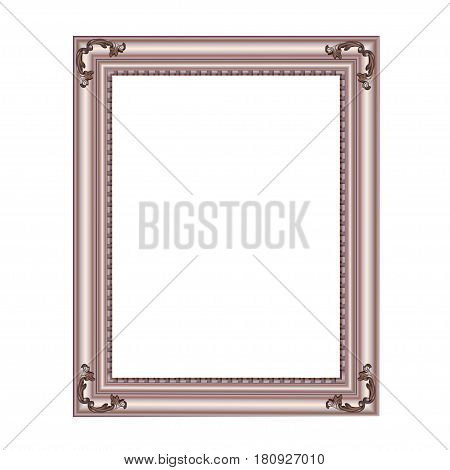 Decorative rectangular frame of silvery color with finishing on corners