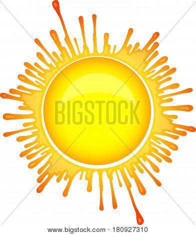 Colorful bright Sun symbol in inkblot style