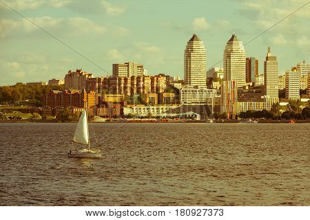 Quay of the big city at day the river Dnepr Dnepropetrovsk