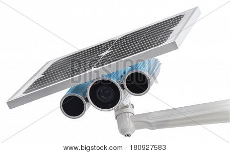 Surveillance Camera with Solar Power isolated on white background