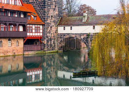 Icon city view of Nuremberg, Germany with half-timbered houses in Bavaria