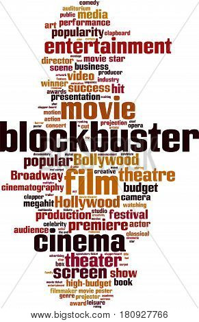 Blockbuster word cloud concept. Vector illustration on white