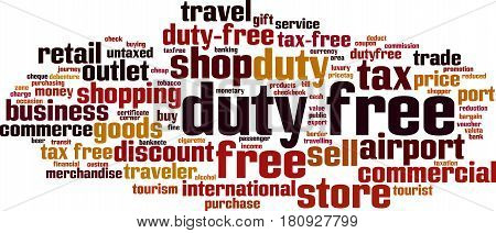 Duty free word cloud concept. Vector illustration