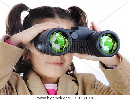 Little girl with binoculars, earth globe in glasses