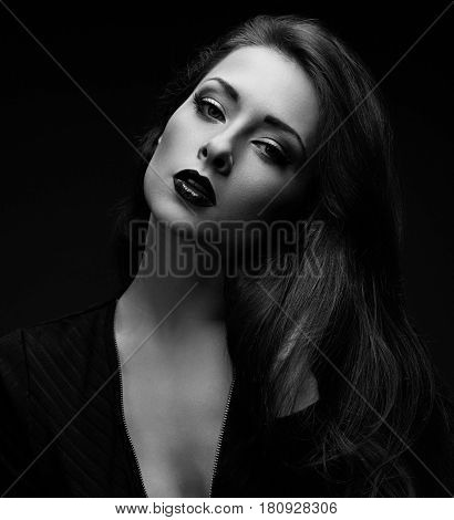 Sexy Woman Posing In Dark Shadow Black Background. Closeup Portrait. Black And White