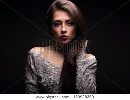 Sexy Makeup Woman In Blouse Posing In Dark Shadow Black Background. Bright Make-up With Red Lipstick