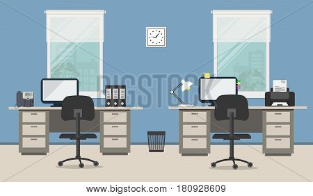 Workplace of office workers with gray furniture on a blue background. There are two tables, two black chairs, a phone, a printer, a clock and other objects in the picture. Vector flat illustration.