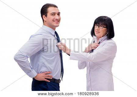 Experienced doctor examining young man isolated on white