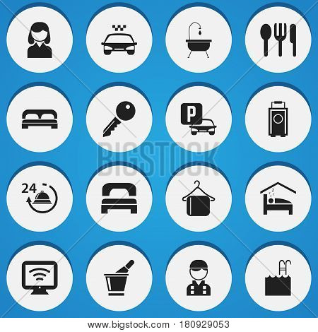 Set Of 16 Editable Motel Icons. Includes Symbols Such As Unblock Access, Transport Car, Baggage And More. Can Be Used For Web, Mobile, UI And Infographic Design.