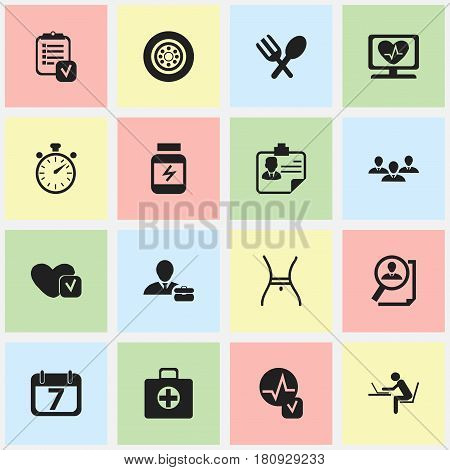 Set Of 16 Editable Mixed Icons. Includes Symbols Such As Programmer, Chronometer, Heartbeat And More. Can Be Used For Web, Mobile, UI And Infographic Design.
