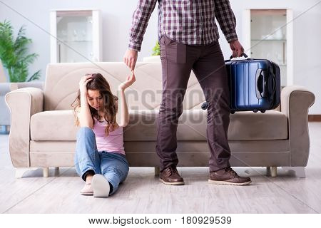 Young family in broken relationship concept