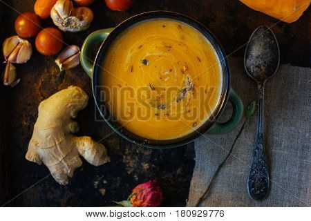 Top View Of Vegetable Cream Soup With Ginger.
