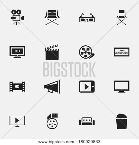 Set Of 16 Editable Movie Icons. Includes Symbols Such As Monitor, Record Cam, Cinema Snack And More. Can Be Used For Web, Mobile, UI And Infographic Design.