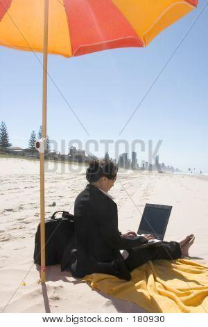 Businesswoman Working At Beach