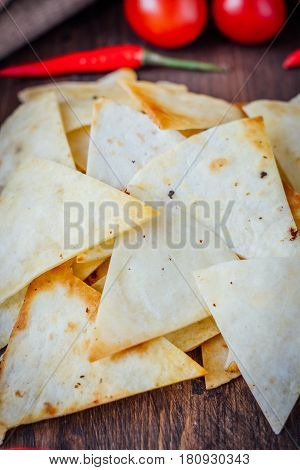 Organic Mexican Snack - Nachos - Corn Chips With Vegetables.