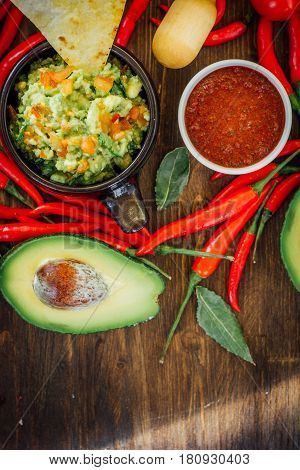Guacamole And Salsa - Two Hot Mexican Vegetarian Dips.