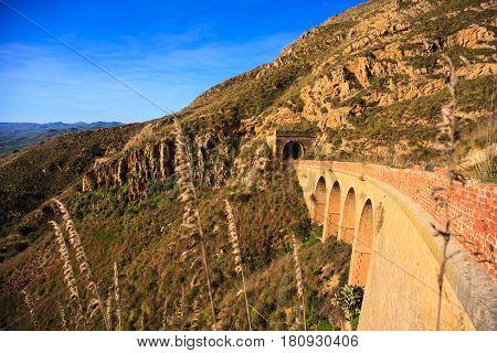 View of the bridge of the old Sicilian railroad