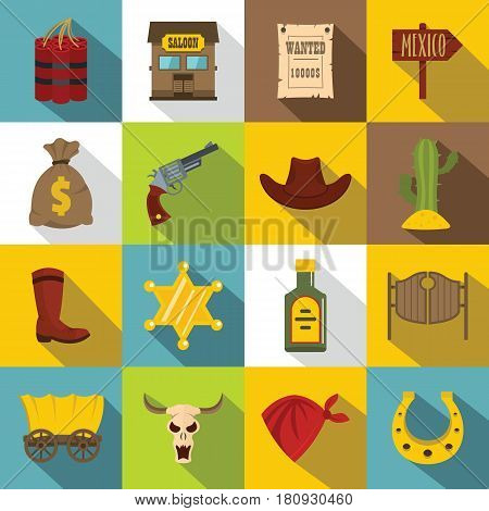 Wild west set design logo. Flat illustration of 16 wild west logo vector icons for web