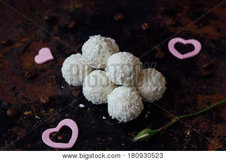 Beautiful White Sweets - Concept Of Romantic Dessert.