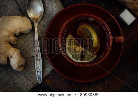 Top View Of Beautiful Ginger Tea In Ceramic Cup