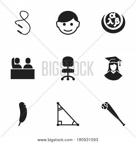 Set Of 9 Editable Graduation Icons. Includes Symbols Such As Student, Triangle, Work Seat And More. Can Be Used For Web, Mobile, UI And Infographic Design.