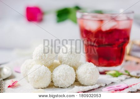 Breakfast In Bed - Candy And Juice With Ice.
