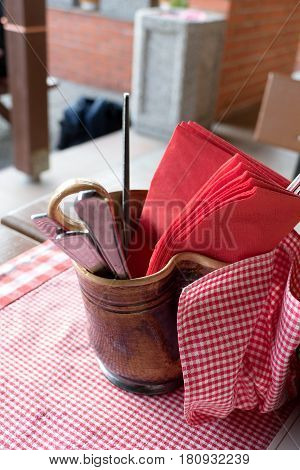 Food Accesories Prepared On A Table With Red Cloth