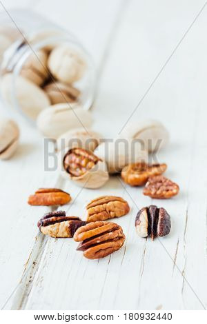 Pecan Nuts On White
