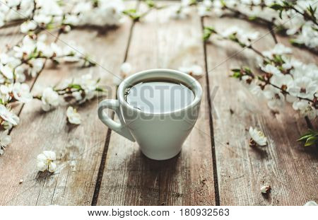 Cup Of Hot Black Coffee In Female Hands On A Wooden Vintage Desk With Spring White Flowers Apricorn.