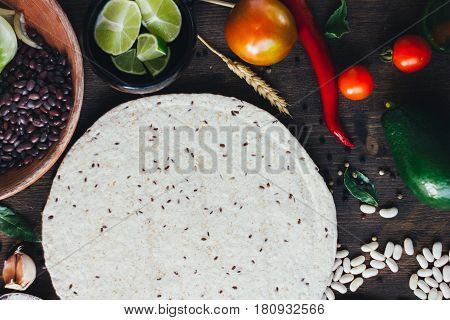 Mexican Food - Tortilla With Vegetables, Corn And Beans.