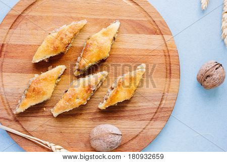 Turkish Baklava Made From Nuts Over Easter Table.