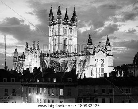 Bath Abbey In Bath In Black And White