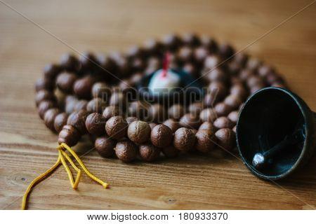 Rudraksha japa mala. Rosary made from rudraksha seeds