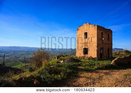 View of old Italian rural house called Casa Cantoniera