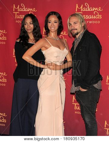 LOS ANGELES - APR 7:  Zoe Saldana Wax Figure, Zoe Saldana, Marco Perego at her Madame Tussauds Hollywood Wax Figure Unveiling  at the Madame Tussauds Hollywood on April 7, 2017 in Los Angeles, CA