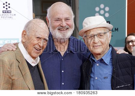 LOS ANGELES - APR 7:  Carl Reiner, Rob Reiner, Norman Lear at the Carl and Rob Reiner Hand and Footprint Ceremony at the TCL Chinese Theater IMAX on April 7, 2017 in Los Angeles, CA