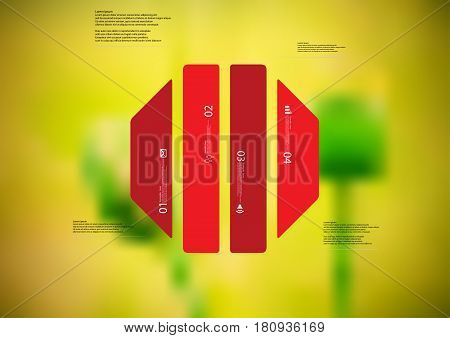 Illustration infographic template with motif of octagon vertically divided to four standalone red sections. Blurred photo with natural motif of green poppy plants is used as background.