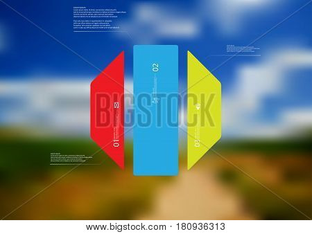 Illustration infographic template with motif of octagon vertically divided to three standalone color sections. Blurred photo with natural motif landscape with cloudy sky is used as background.