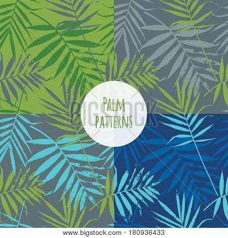 Tropical palm leaves jungle leaves seamless vector floral pattern. Set of Seamless exotic background with tropical leaves. Vector illustration.