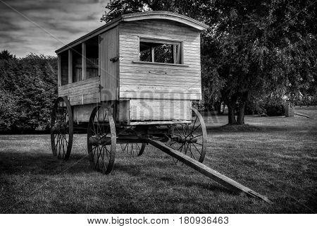 School Wagon in Monochrome - circa 1900
