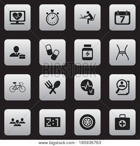 Set Of 16 Editable Complex Icons. Includes Symbols Such As Search, Velocipede, Group And More. Can Be Used For Web, Mobile, UI And Infographic Design.