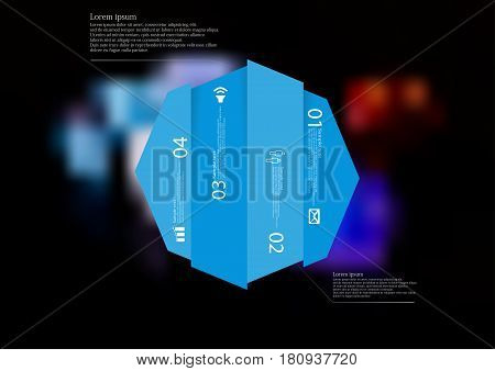 Illustration infographic template with motif of octagon vertically divided to four shifted blue sections. Blurred photo with colorful game dices motif on black board is used as background.