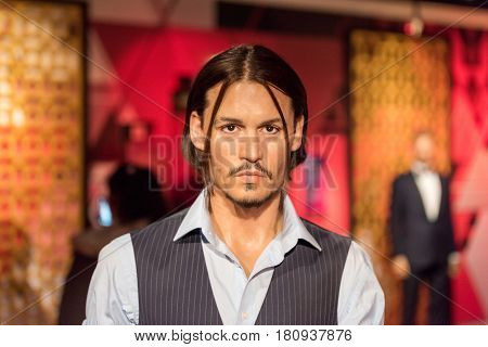 ISTANBUL, TURKEY - MARCH 16, 2017: Johnny Depp wax figure at Madame Tussauds  museum in Istanbul. John Christopher Depp is an American actor, producer and musician.